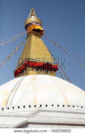Boudhanath stupa in Kathmandu Nepal. It is the largest stupa in Nepal and the holiest Tibetan Buddhist temple outside Tibet.