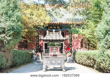 Hebei, China - Oct 13 2015:  Sanyi Temple. A Famous Historic Site In Zhuozhou, Hebei, China.