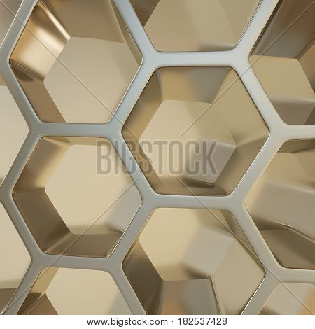 3d illustration of metal hexagonal honeycombs nano background
