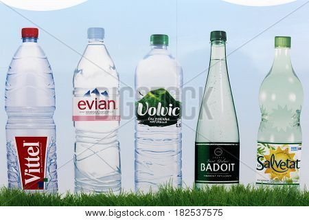Saint Georges, France - February 10, 2017: Bottled water brands in France on a wall