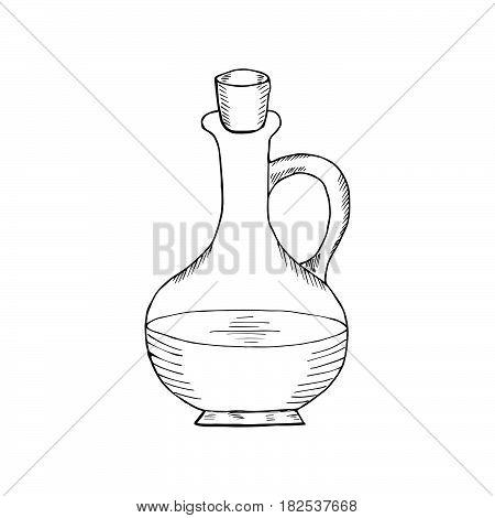 Jug glass of liquid with cork stopper. Olive oil. Hand drawn ink design element. Vintage black illustration. Isolated on white background.