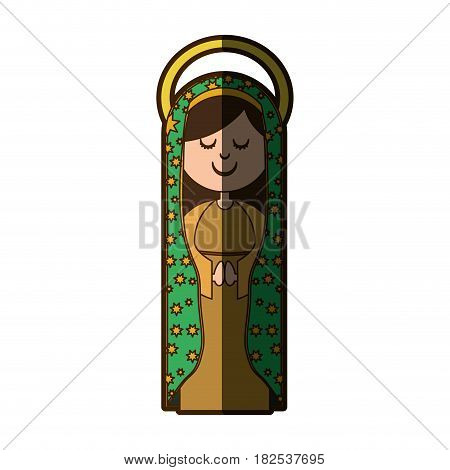 white background of virgin of guadalupe with aura with half shadow vector illustration
