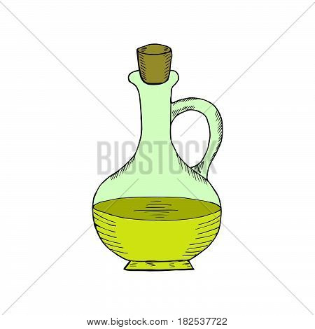 Jug glass of liquid with cork stopper in color. Olive oil. Hand drawn ink design element. Vintage black illustration. Isolated on white background.