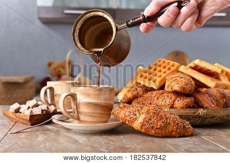 Breakfast With Black Coffee, Freshly Baked Waffles And Croissants