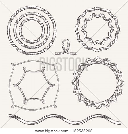 Vector Vintage Old Marine Rope Frame Set. Sea Or Ocean Borders With Rope Brush. Circle, Square, Hexa