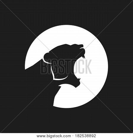 Tiger head logo or icon in black and white. Vector illustration.