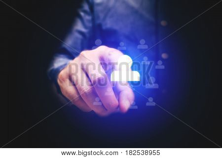 Businessman Pointing People Icon With Human Resource Concept.