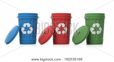 Recycle Trash Cans On White Background. 3D Illustration