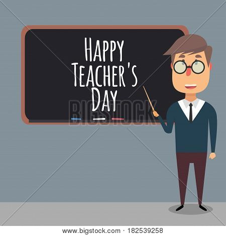 Teacher in front of the board with a pointer in his hand. Happy Teacher's Day