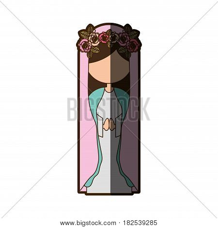 white background of faceless virgin with crown of roses and pink mantle with half shadow vector illustration