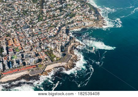 Cape Town Aerial Shot With Focus On Sea Point