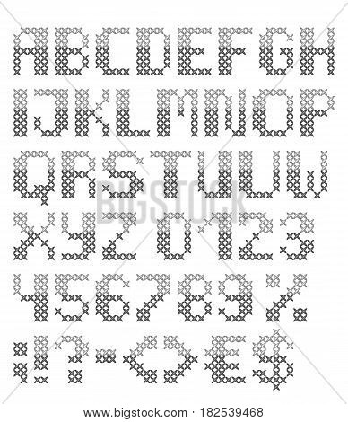 Grey cross stitched english font with numbers and symbols. Vector set. Isolated on white background