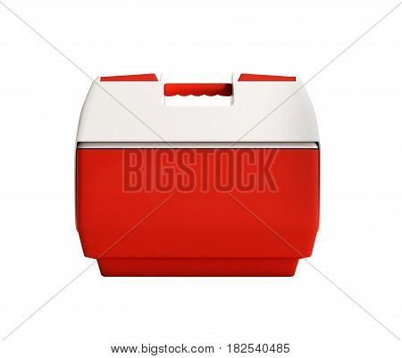 Closed Refrigerator Box Red 3D Render No Shadow