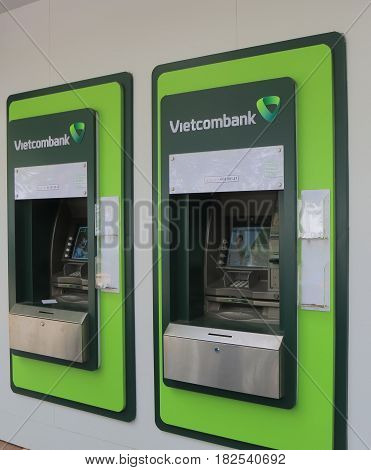 HANOI VIETNAM - NOVEMBER 23, 2016: Vietcombank ATM. Joint Stock Commercial Bank for Foreign Trade of Vietnam known as Vietcombank was founded in 1963.