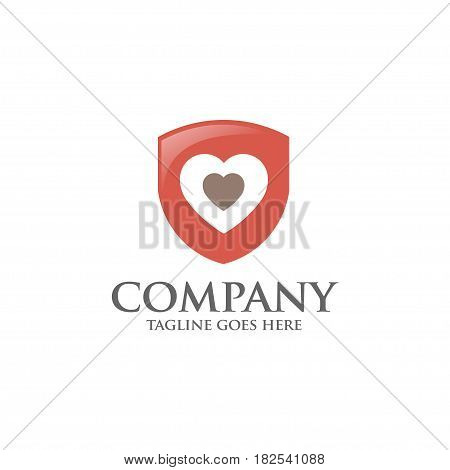 Shield logo with love heart abstract logo, created shield with hearth elements. shield abstract geometric style
