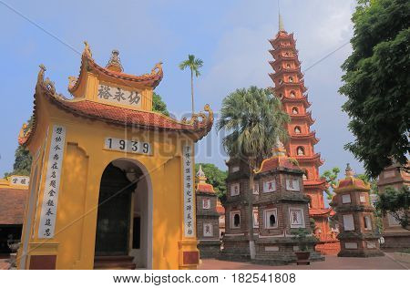 Tran Quoc pagoda in Hanoi Vietnam. Tran Quoc pagoda is the oldest pagoda in Hanoi constructed in the sixth century.