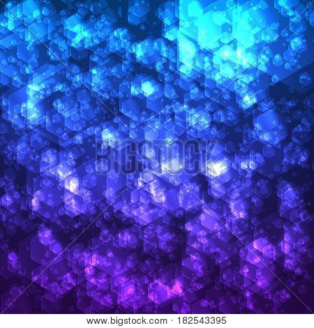 Abstract vector mesh background. Random transparent hexagons. Futuristic technology style. Elegant background for business presentations. Flying debris. eps10