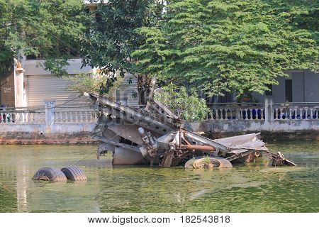 HANOI VIETNAM - NOVEMBER 23, 2016: B52 lake. B52 lake is famous for twisted wreckage of a US B-52 bomber from Vietnam war.