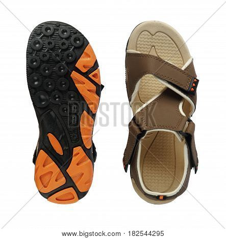 Men's Sandal Footwear Top and Sole on White Background