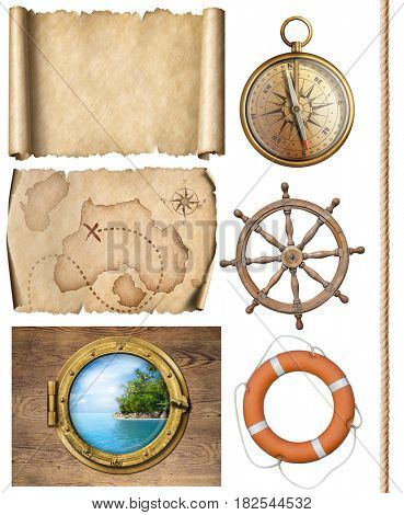 nautical objects rope, maps, compass, steering wheel and porthole 3d illustration