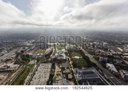 Los Angeles, California, USA - April 12, 2017:  Aerial view of the historic Coliseum and Exposition Park Rose Garden and Museums.