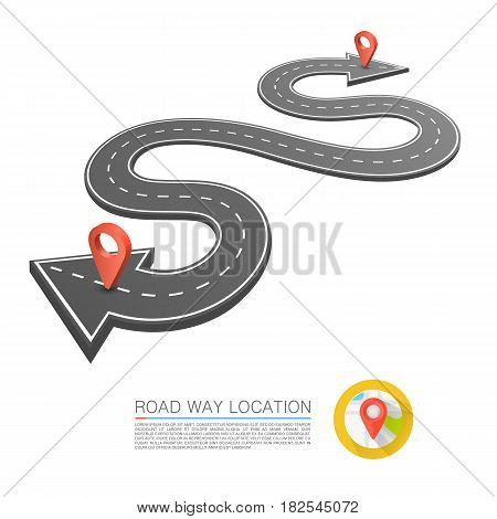 Paved path on the road, Road arrow location , Vector background