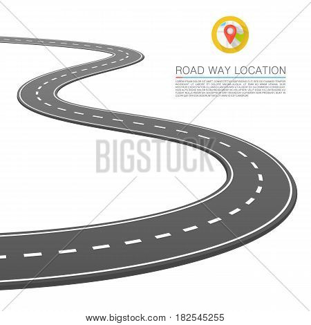 The road goes into the horizon , Vector illustration