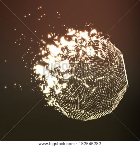 Abstract vector brown mesh background. Destroying of abstract comet. Futuristic technology style. Elegant background for business presentations. Flying debris. eps10