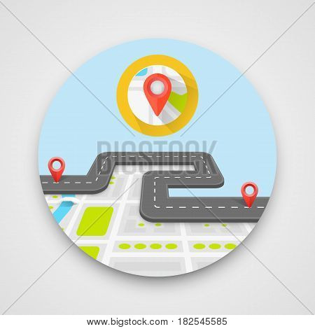Paved path on the road. Circle sticker . Vector background
