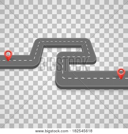 Paved path on the road, road on a transparent background , Vector illustration