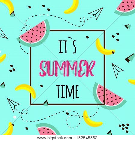 Vector of bright summer cards. Beautiful summer posters with watermelon, bananas and text. Memphis.Journal cards