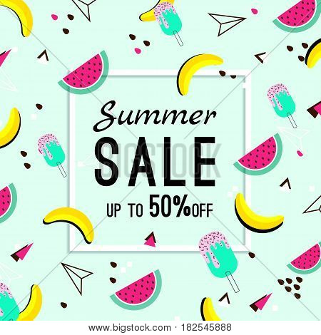 Vector of bright summer cards. Beautiful summer posters with watermelon, ice cream, bananas and text. Memphis. Journal cards