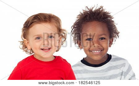 Funny children looking at camera isolated on a white background