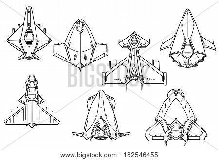 Set of hand drawn spacecraft spaceship designs concept art in black and white