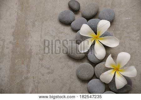 frangipani with spa stones on grey background