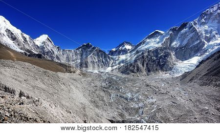Scene of Himalaya mountain on the way to Everest base camp Nepal.