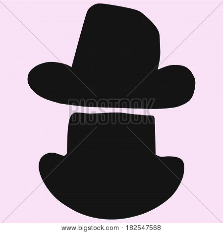 Cowboy hat vector silhouette isolated on background