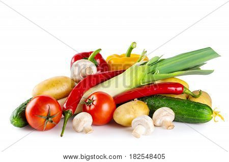 Fresh tasty raw vegetables isolated on white backgroun