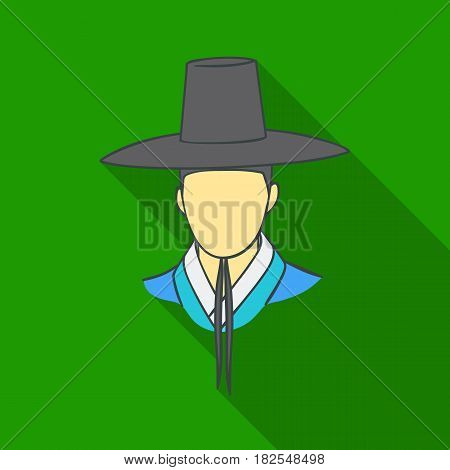 Traditional korean hat icon in flate style isolated on white background. South Korea symbol vector illustration.