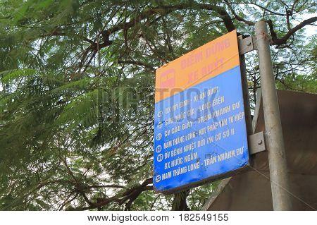 HANOI VIETNAM - NOVEMBER 23, 2016: Hanoi Bus stop sign.