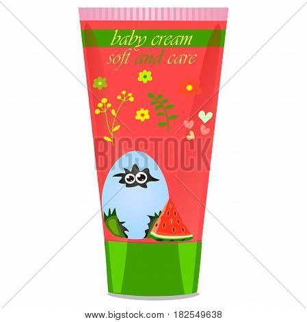 High quality original trendy vector Baby watermelon cream tube with kids design and crocodile or alligator on floral background illustration