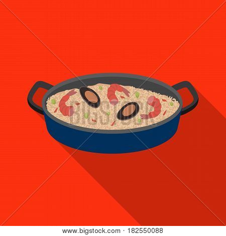 Paella icon in flate design isolated on white background. Spain country symbol stock vector illustration.