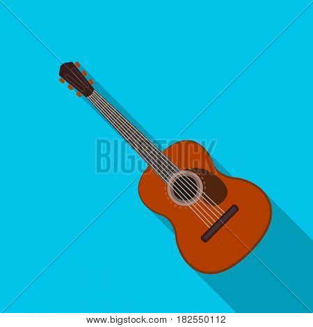 Spanish acoustic guitar icon in flate design isolated on white background. Spain country symbol stock vector illustration.