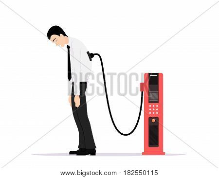 picture of office worker tired of working and charging from energy station, low battery, sick and tired concept