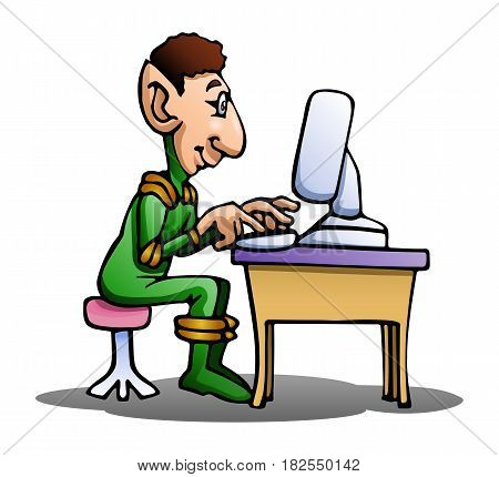 illustration of an alien using computer on isolated white background