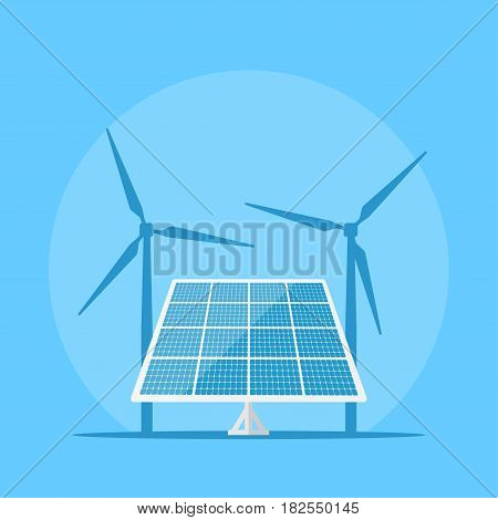 picture of a solar panel with wind turbine silhouette on background, sun energy concept