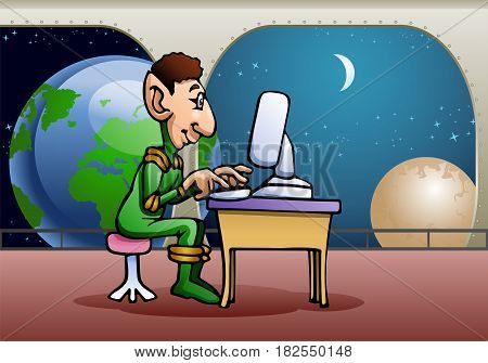 illustration of an alien using computer on star station background