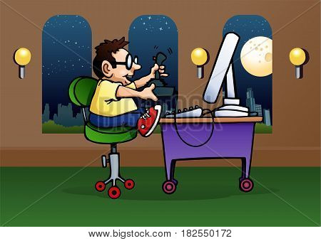 illustration of a kid play game in computer on room background
