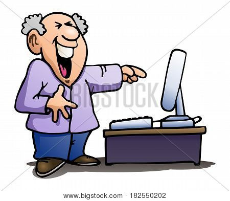 illustration of a man laughing at computer on isolated white background