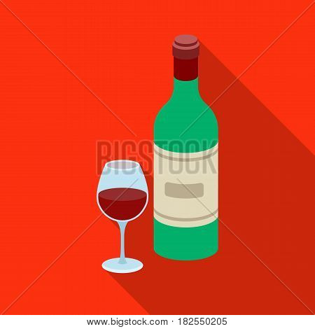 Spanish wine bottle with glass icon in flate design isolated on white background. Spain country symbol stock vector illustration.
